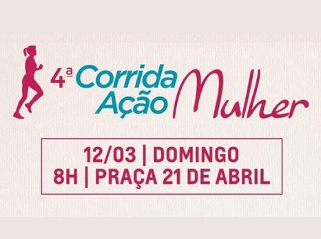 """4ª Corrida e Caminhada """"Ação Mulher"""" acontece neste domingo, 12, na Praça 21 de Abril"""